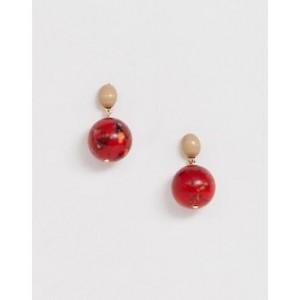 Mango round drop earrings in stone effect in multi