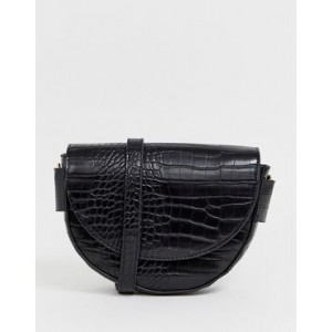 Mango semi circle croc effect x body bag in black