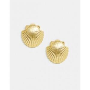 Mango shell earrings in gold