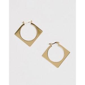 Mango square hoop earrings in gold