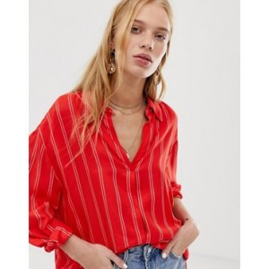 Mango striped shirt in red