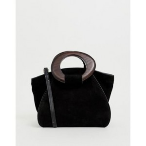 Mango suede top handle bag in black