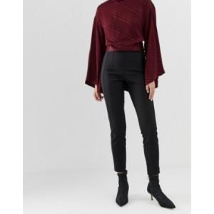 Mango zip fasten leggings in Black