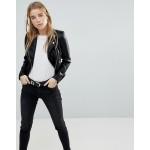 Miss Selfridge faux leather biker jacket in black