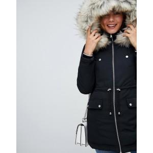Miss Selfridge padded parka coat in black