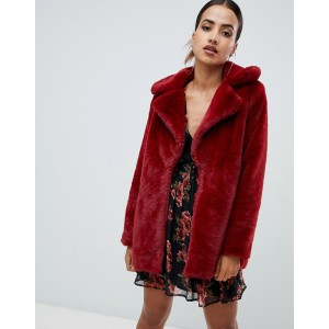 Missguided faux fur coat in red