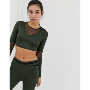 Missguided gym mesh insert long sleeve top in khaki