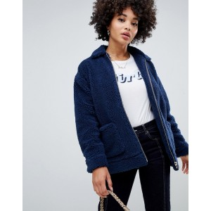 Missguided oversized borg zip jacket in navy