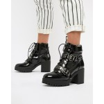 Missguided patent chunky sole biker heeled boots In black