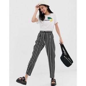 Monki peg leg pants in stripe print