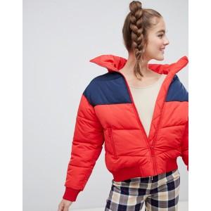 Monki short puffer jacket in red