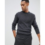 Moss London lambswool sweater with cable knit in gray
