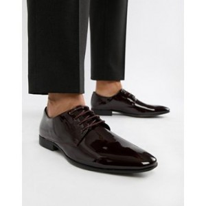 Moss London patent oxford shoes in burgundy