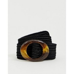 My Accessories black woven belt with resin buckle