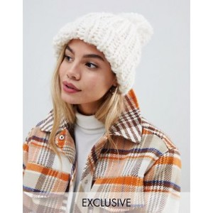 My Accessories cream extra chunky knitted hat
