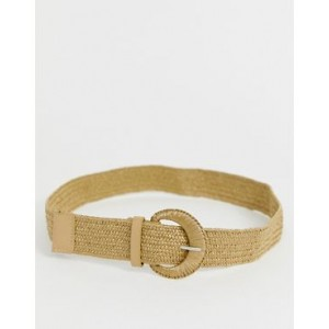 My Accessories London Exclusive natural woven belt with covered buckle