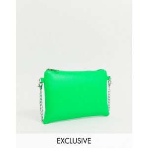 My Accessories London Exclusive neon green pouch crossbody bag