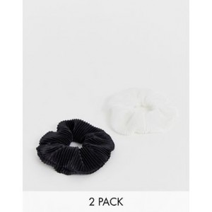 My Accessories London plisse scrunchie 2 pack