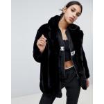 Na-kd faux fur fluffy coat in black