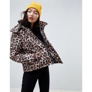 Na-kd leopard print padded jacket in brown
