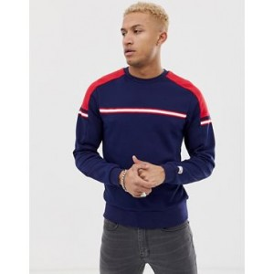 New Balance color block sweat in navy