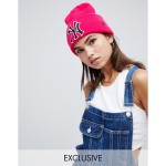 New Era blush exclusive pink beanie with retro NY