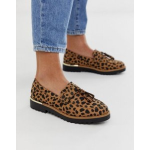 New Look chunky loafer in animal print