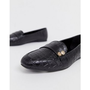 New Look coin detail loafers in black