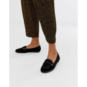 New Look contrast stitch loafer in black