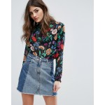New Look Floral High Neck Blouse
