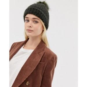 New Look fluffy faux fur pom pom bobble hat in khaki