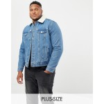 New Look Plus borg denim jacket in washed blue