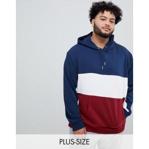 New Look Plus color block hoodie in blue