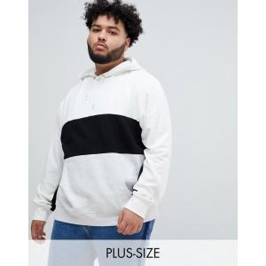 New Look Plus color block hoodie in gray