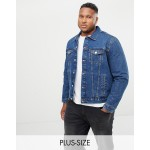 New Look Plus denim western jacket in blue