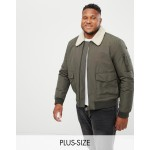 New Look Plus jacket with fleece collar in khaki