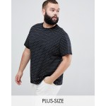 New Look Plus oversized stripe t-shirt in black