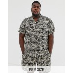 New Look Plus two-piece revere shirt in leopard print