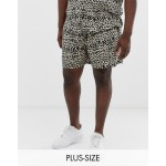 New Look Plus two-piece shorts in leopard print
