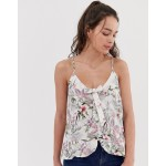 New Look Printed Tie Front Cami Top