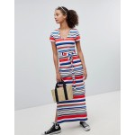 New Look Rainbow Stripe V Neck T-Shirt Maxi Dress