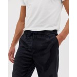 New Look smart sweatpants in navy pinstripe