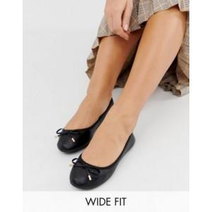 New Look wide fit ballerina in black