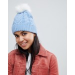 Oasis cable knit beanie with fur pom pom in blue