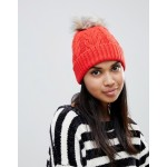 Oasis cable knit beanie with fur pomp om in orange