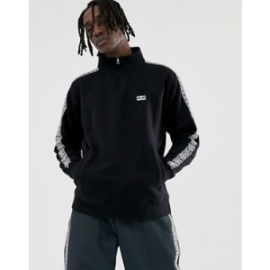 Obey Bridges 1/4 Zip Sweatshirt With Taping In Black