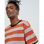 Obey Burn classic stripe t-shirt in brown