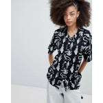 Obey Button Front Shirt With Animal Skeleton Print