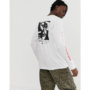 Obey Control Print Long Sleeve T-Shirt In White