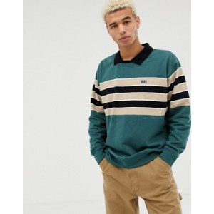 Obey Cupid panel long sleeve polo in green